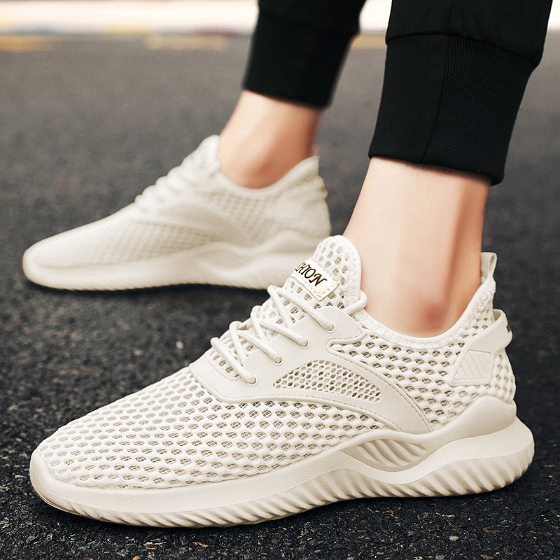 Summer hollow out single shoe youth sports cover foot large mesh mesh shoes low top mesh casual running shoes thin mens shoes