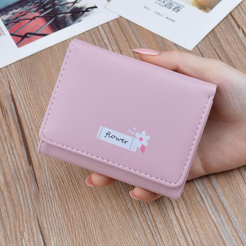 Womens wallet womens short thin multi card three fold Wallet printing multi function folding soft wallet small bag