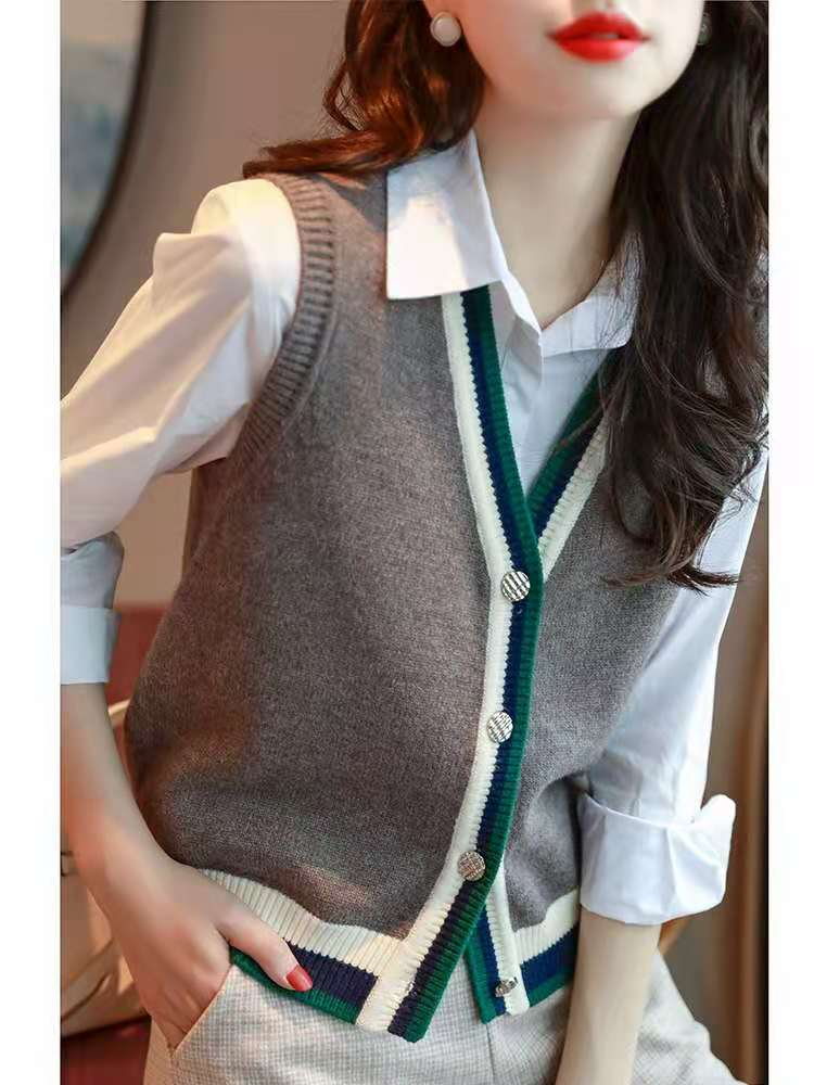 Sweater vest spring and autumn versatile sleeveless contrast color knitted cardigan V-neck vest vest sweater coat womens fashion