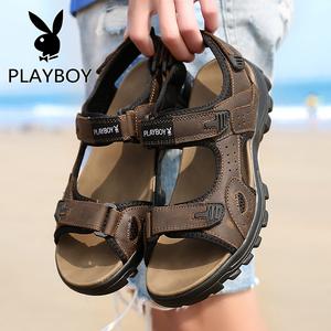 花花公子男鞋夏季透气皮凉鞋韩版男生青少年夏天沙滩鞋凉拖鞋子潮
