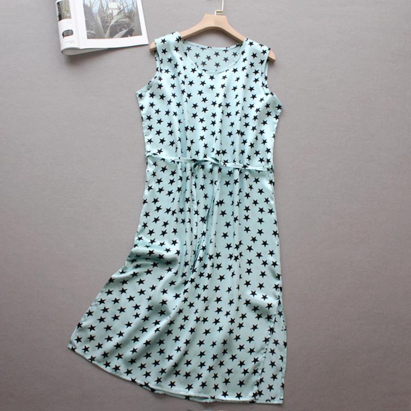 新款女装桑蚕丝连衣裙韩版宽松系带显瘦无袖背心裙子缎面真丝长裙