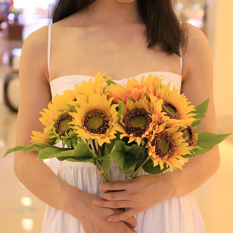 向日葵仿真太�花束手拿道具吊�@植物��_盆栽套�b花卉假花�b�花