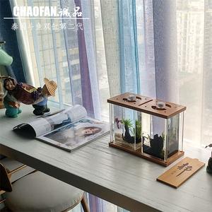 泰国斗鱼缸斗鱼双缸微景观桌面摆件