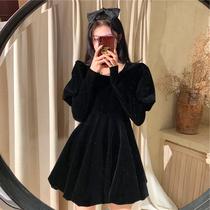 2020冬季新款大码女装法式复古减龄洋气短裙胖MM显瘦赫本风连衣裙