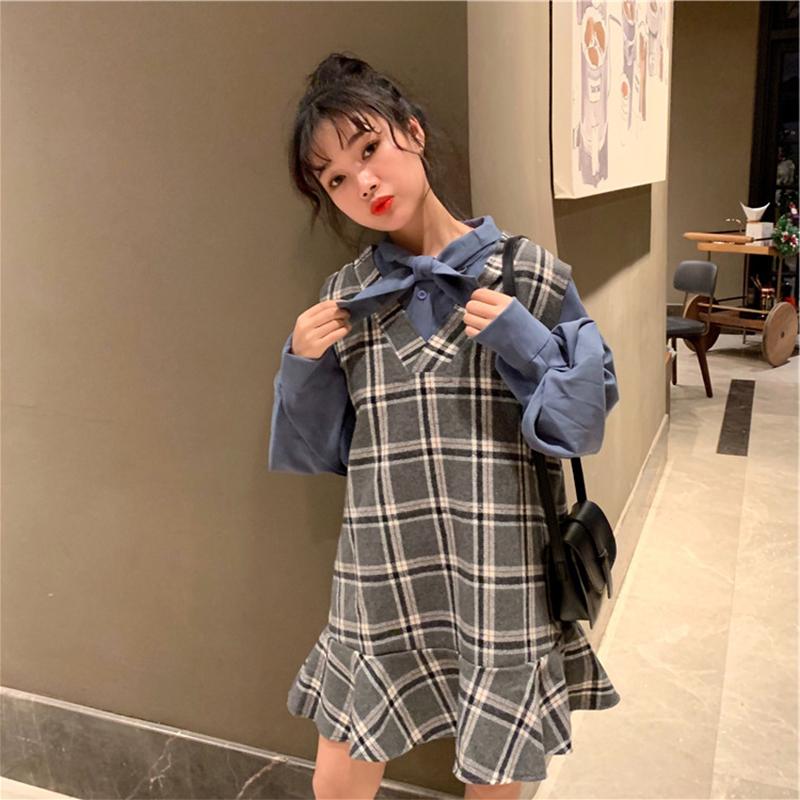 秋冬大码女装显瘦洋气网红微胖妹妹藏肉衬衣+格子连衣裙两件套装