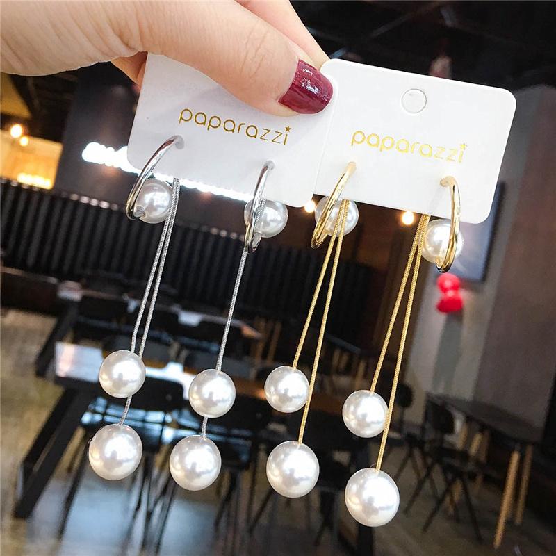 长款珍珠夸张高级感耳环女时尚网红气质韩国耳坠个姓流苏银针耳饰