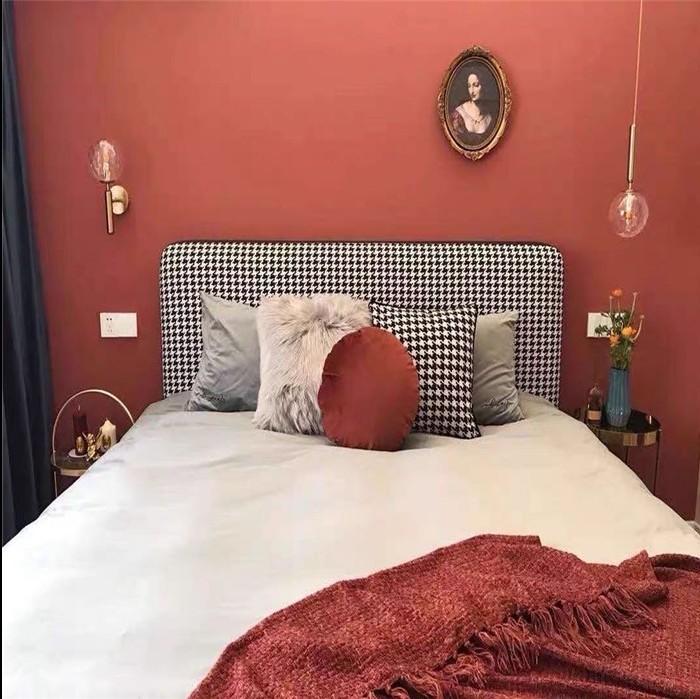 北欧のアメリカー千鳥格は簡単で現代の軽贅沢なinsの柔らかい包みの本当の木の布芸のベッドの保管物のベッドの主な寝床のダブルベッドを予約します。