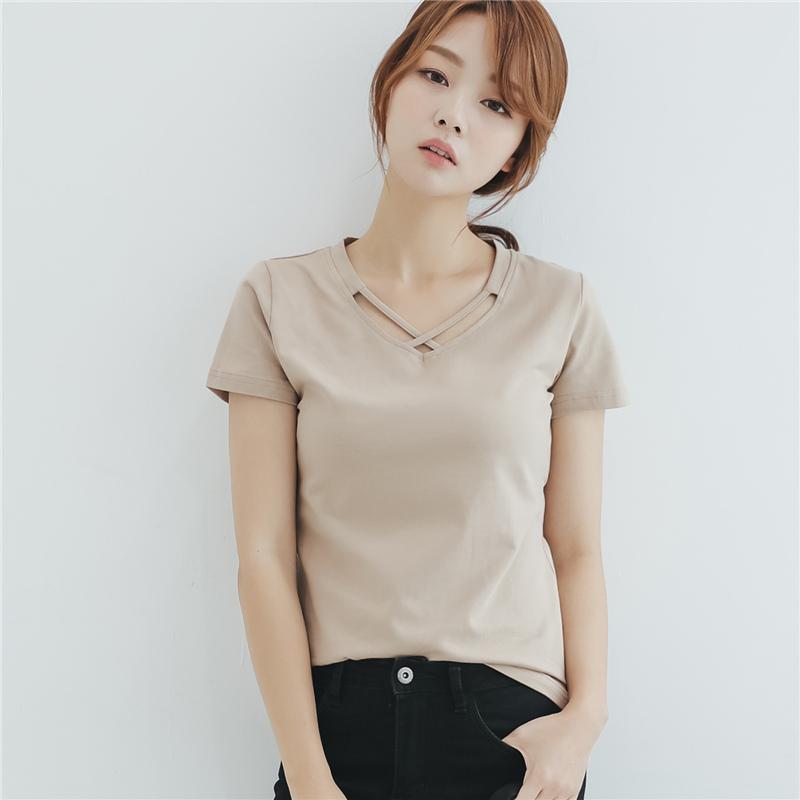 夏季新款简约宽松显瘦体恤上衣纯色交叉修身打底衫V领短袖t恤女士