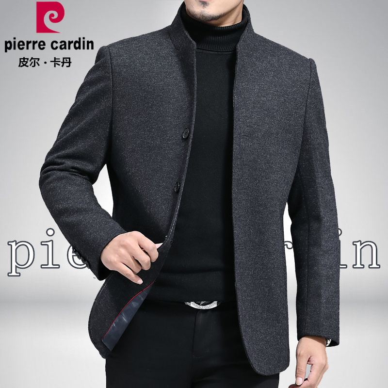 Pierre Cardin mens wool jacket stand collar middle aged mens woolen coat business casual cashmere jacket spring and Autumn