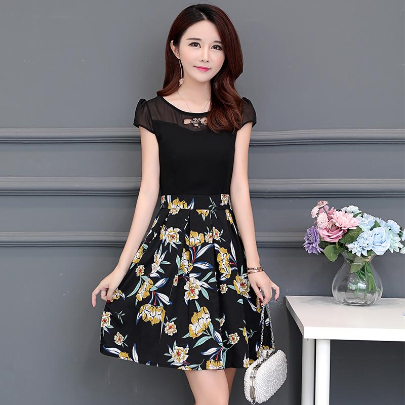 女士妈妈夏装2018新款韩版雪纺连衣裙a字裙中裙印花气质显瘦裙子