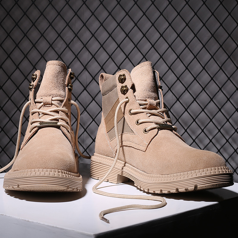 New leather desert boots mens breathable outdoor work clothes high top mens shoes trend to match Martin boots men