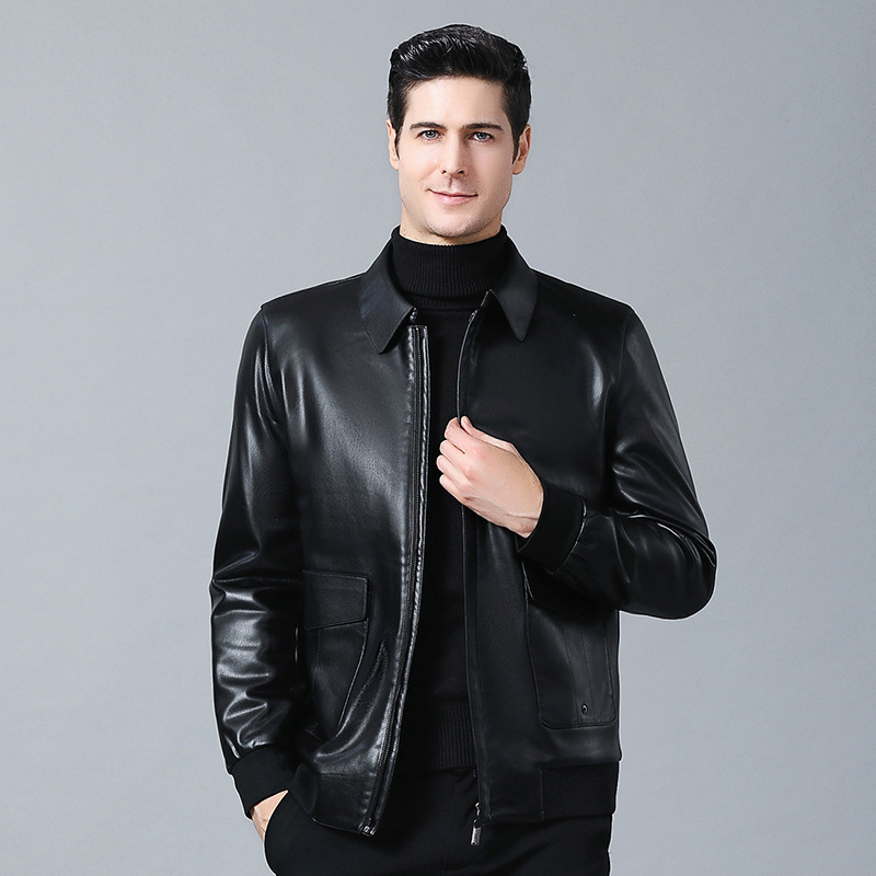 Fashion Leather Mens autumn and winter leather jacket Haining sheep leather mens wear Lapel mens leather jacket long