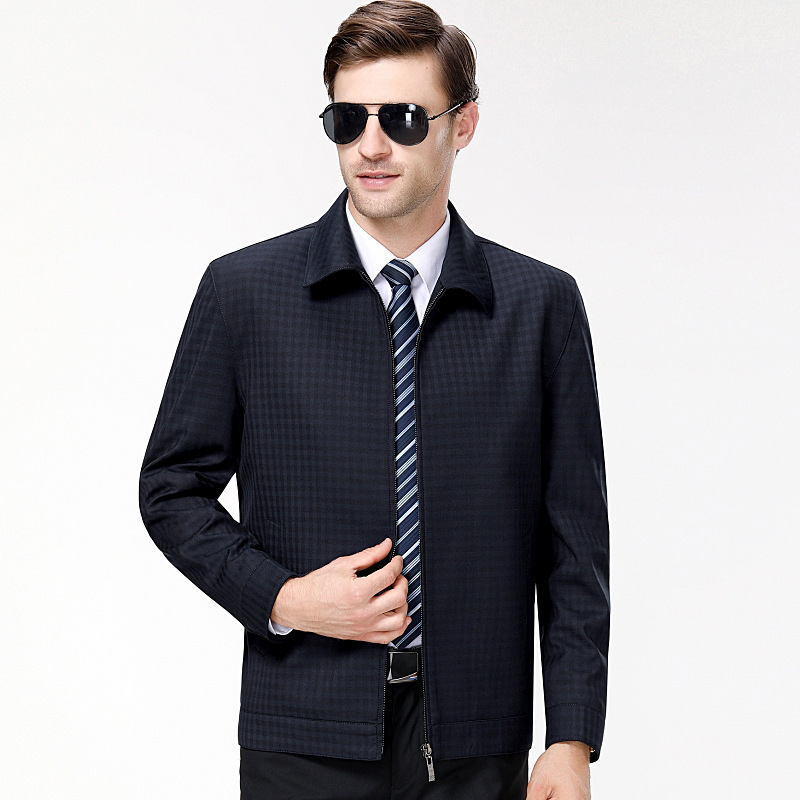 A new fashion casual mens jacket with lapel and Wool Plaid Jacket