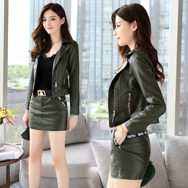 Sales promotion sheepskin womens autumn and winter womens short motorcycle jacket slim fit and slim leather jacket suit with ruffles