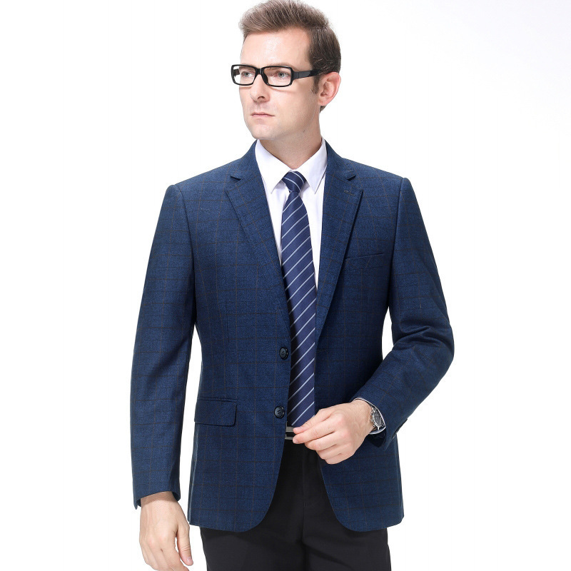 Mens suit autumn and winter fashion business middle-aged wool single suit plaid coat one hair winter work