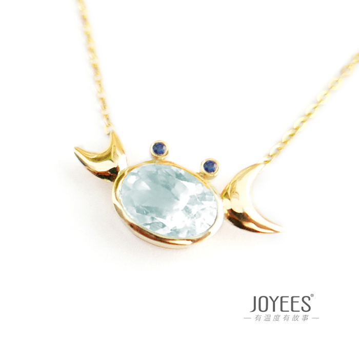 Joyees cancer 18K Gold Aquamarine Pendant Necklace womens new creative design lovers jewelry