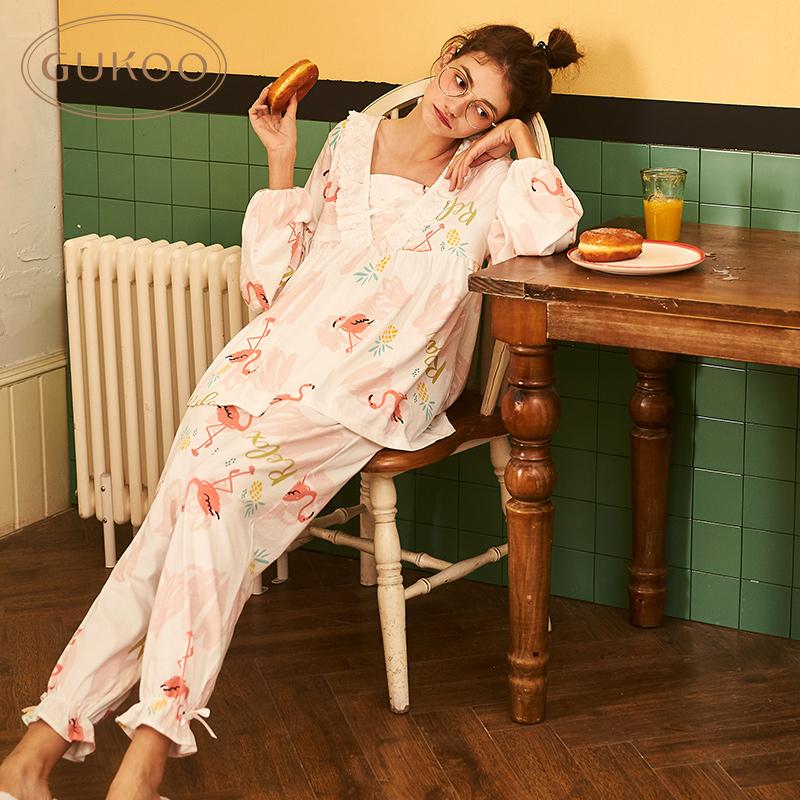 Gukoo/果壳睡衣女春秋火烈鸟套装女士公主风家居服卡通印花居家服