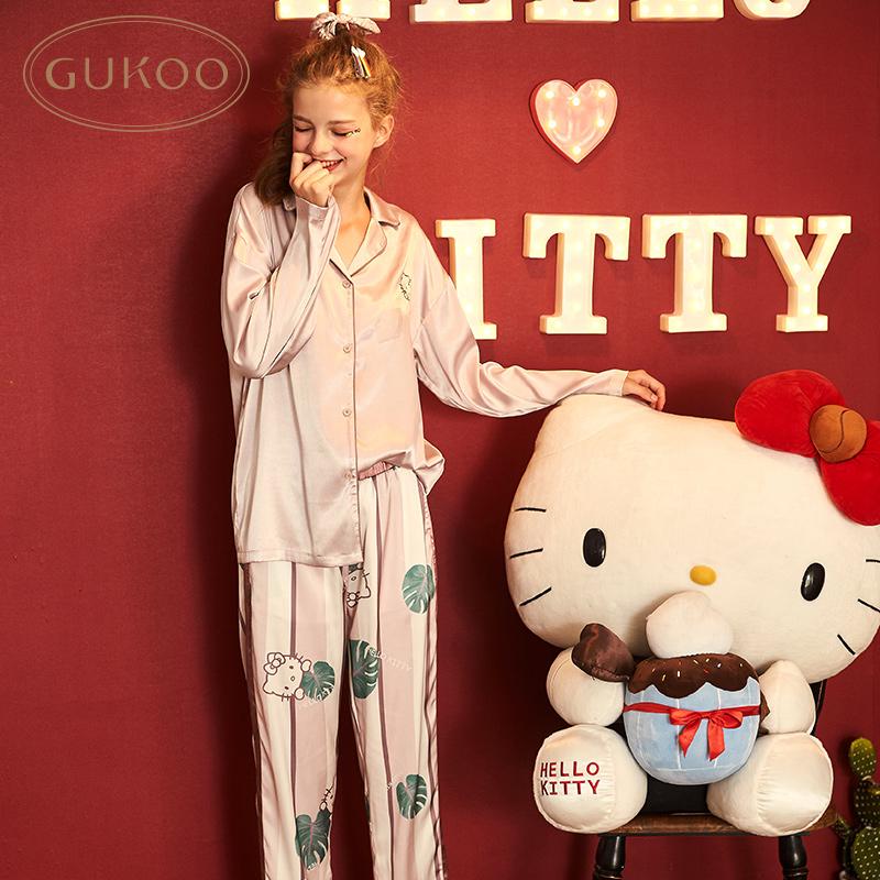 Gukoo/果壳正版Hello Kitty睡衣女秋季翻领家居服套装卡通睡衣