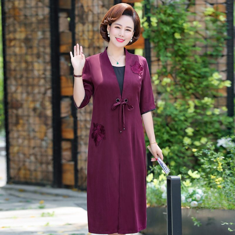 Fashionable mothers summer short sleeve dress mothers day 45 year old womans dress
