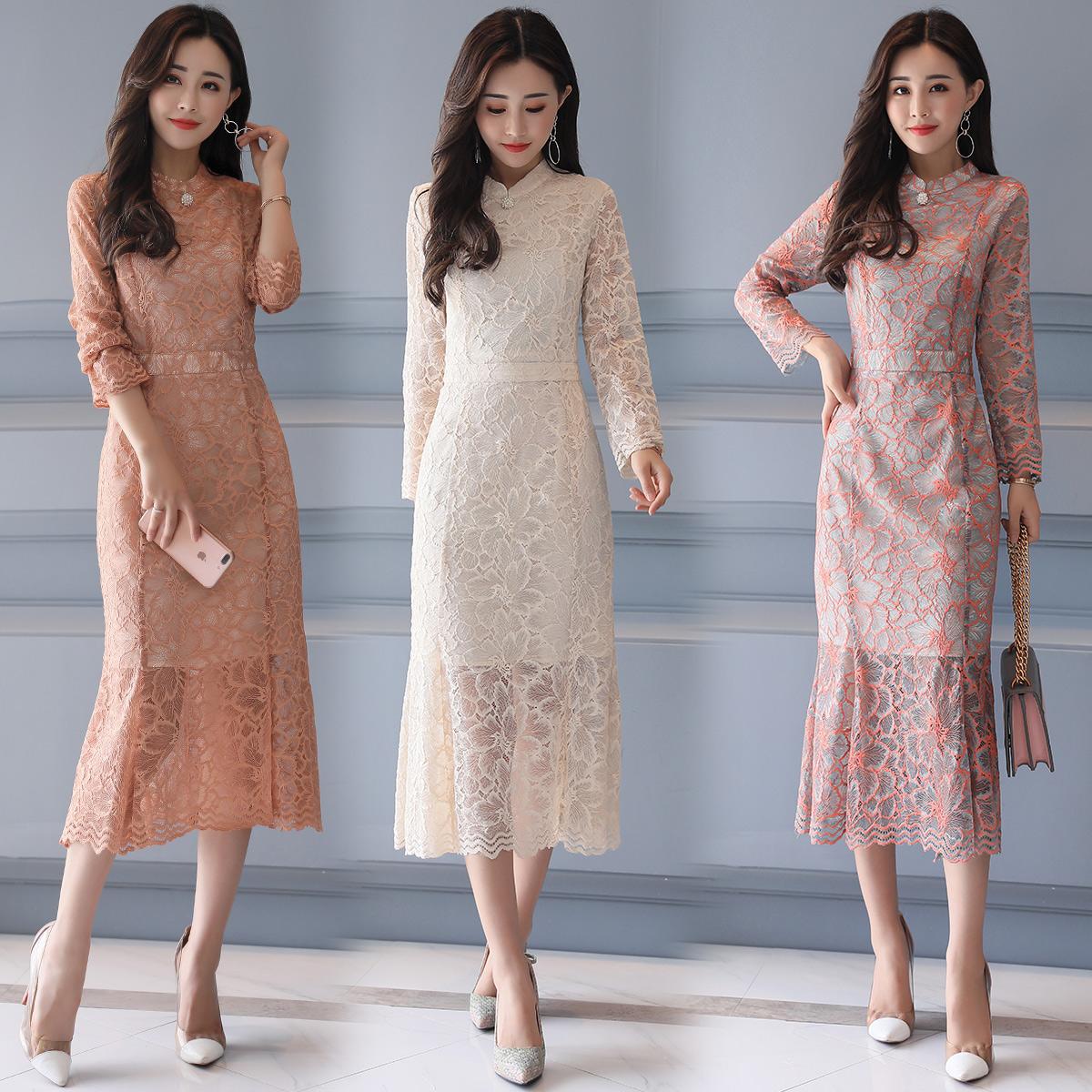 片段女装曼德诗大码布景2018夏装新款蘑菇小象通勤长袖蕾丝连衣裙