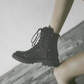 透氣馬丁靴女2021新款涼靴厚底秋季靴子百搭春秋單靴薄款鏤空短靴圖片