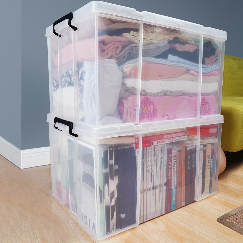 收纳箱塑料储物箱透明整理箱零食玩具整理箱特大号衣服箱子收纳盒