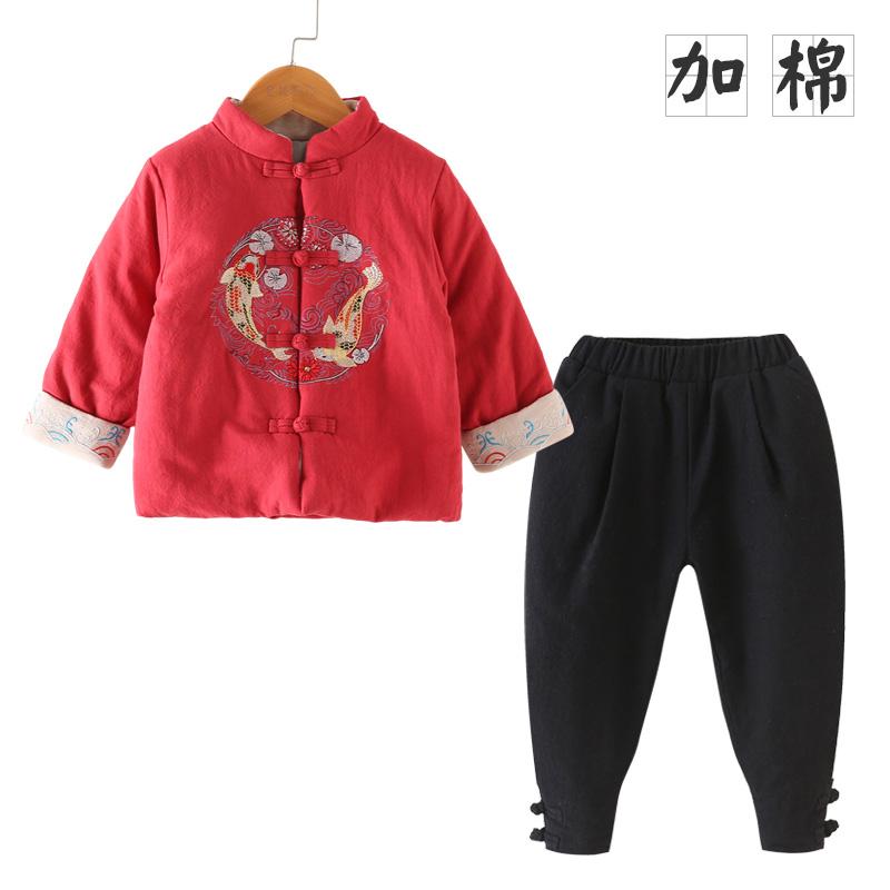 男童唐装儿童古装女孩汉服宝宝周岁礼服中国风加棉拜年服秋冬新款