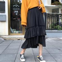 半身裙女秋装2018新款气质显瘦不规则a字中长裙子高腰黑色蛋糕裙