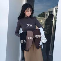 女装2019洋气新款潮秋冬季半高领紧身打底衫内搭长袖百搭t恤上衣