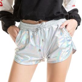 2020欧美性感女装金色涂胶漆皮短裤镭射银色热裤松紧系带PU亮皮裤图片
