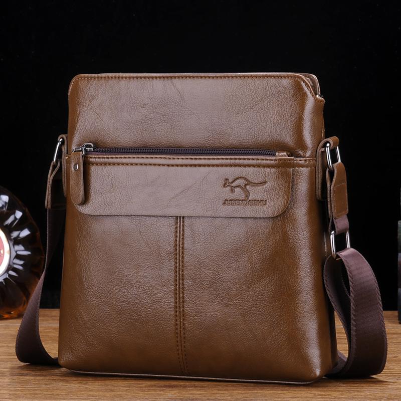 巨森袋鼠真皮男包手提包男士包包单肩斜挎包商务皮包公文包背包男