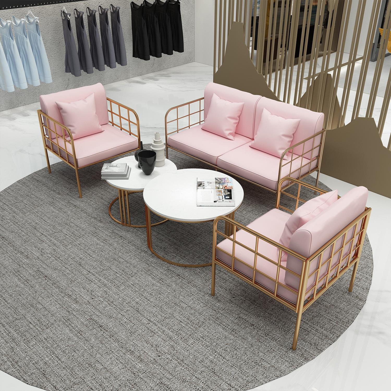 北欧铁艺沙发家具网红时尚服装咖啡店铺接待室卡座会客组合沙发
