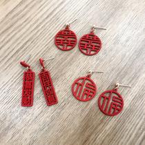 喜庆新年大红圆圈镂空福字恭喜发财耳钉适合冬天过年耳环耳饰女