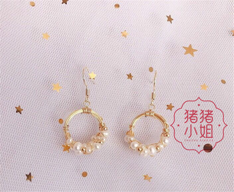 Miss pigs original new natural pearl earrings round flower ring gold plated temperament retro anti allergy ear hook