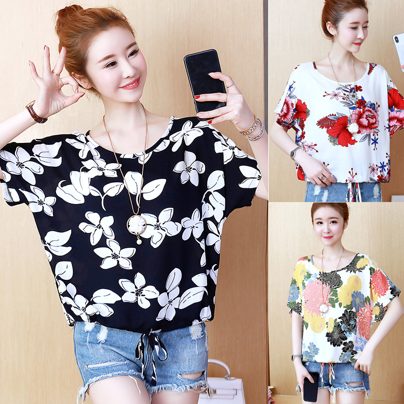Summer womens short sleeve loose thin cotton chiffon shirt with fat and large flower T-shirt