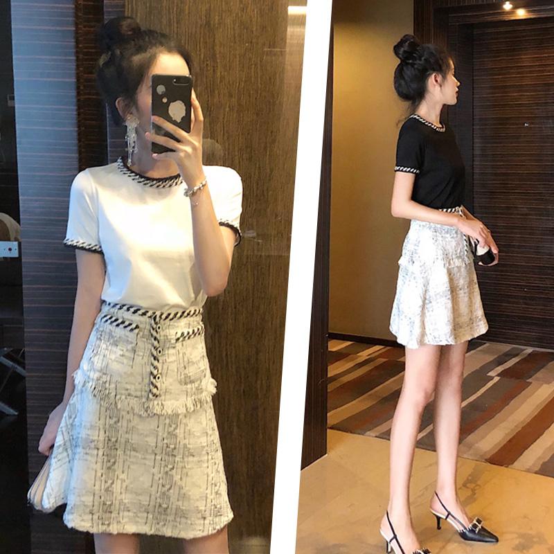 洋气减龄网红小香风套装女2019新款夏T恤半身短裙很仙小众两件套