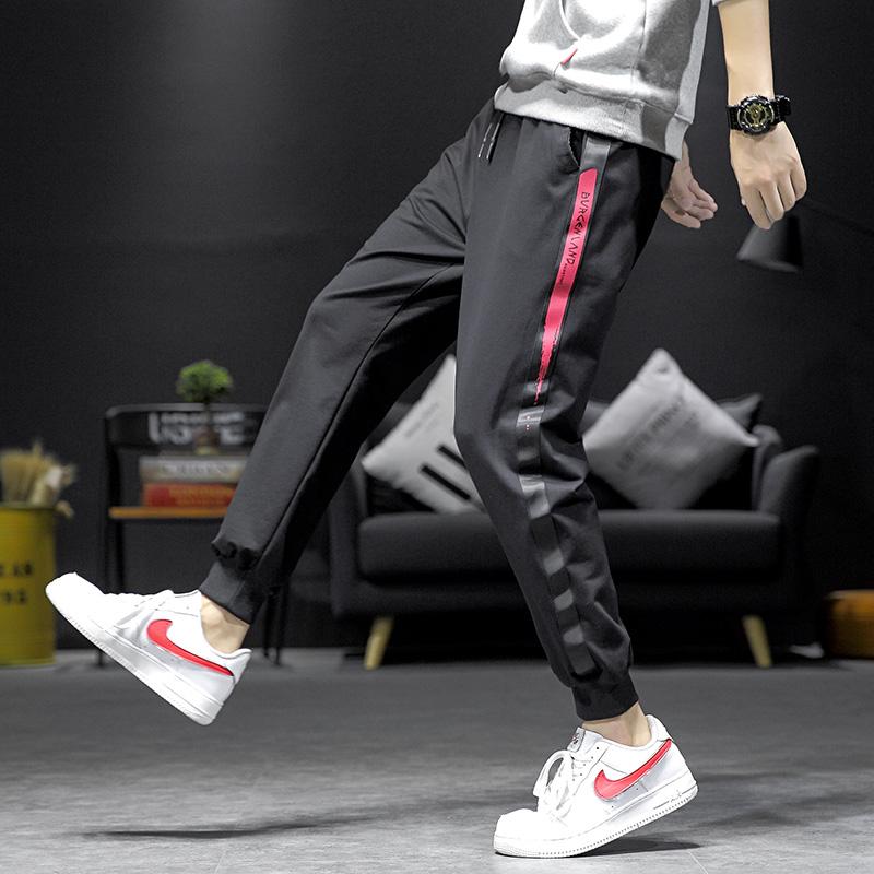 2019秋季新款休闲裤男韩版修身织带拼接休闲裤 999 M-5XL P30