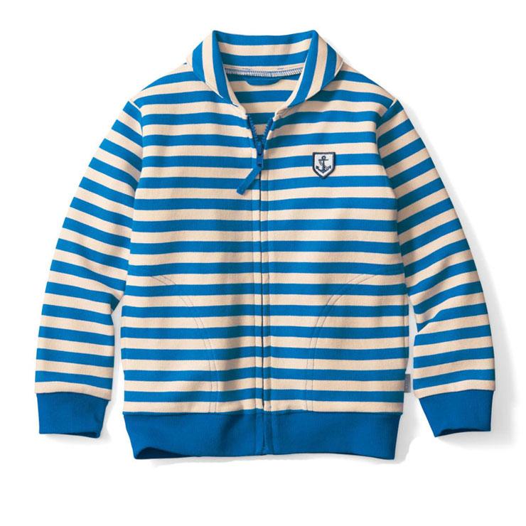 千趣會 CHILD 男全棉防紫外線條紋拉鏈外套 B71911