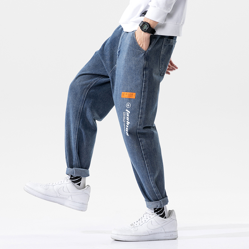 Youth trend Korean version of medium and low waist jeans mens 2021 fashion and comfortable students casual autumn clothes new special offers