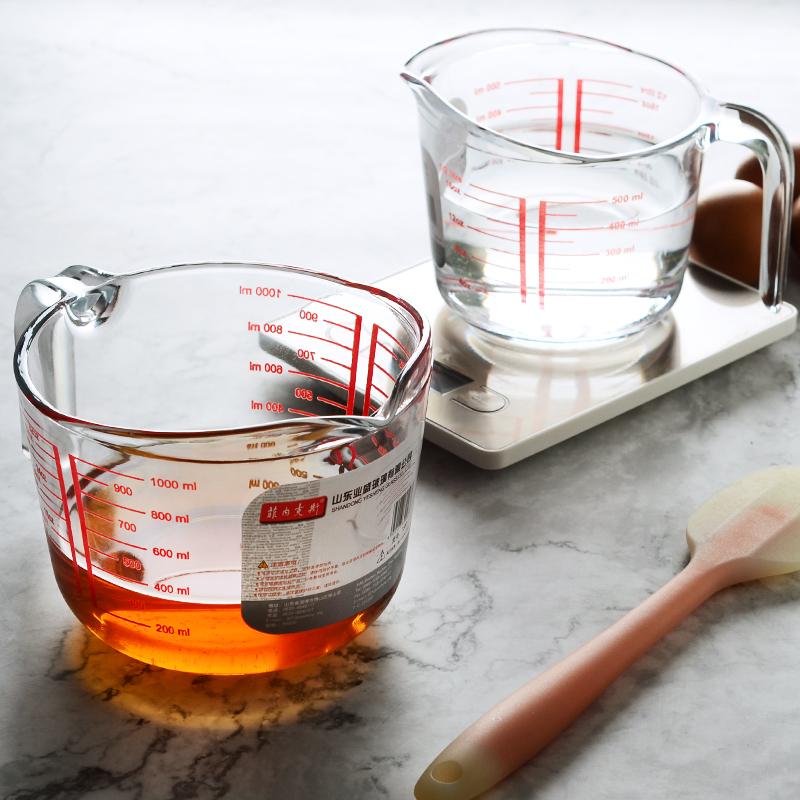 家用刻度杯・全�化玻璃量杯耐高�丶雍翊笕萘����牛奶杯微波�t