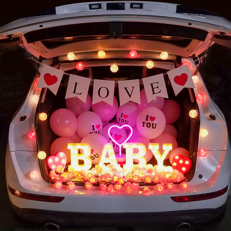 Marry me, propose outside, decorate creative goods, outdoor props, express romance, surprise, car trunk and trunk