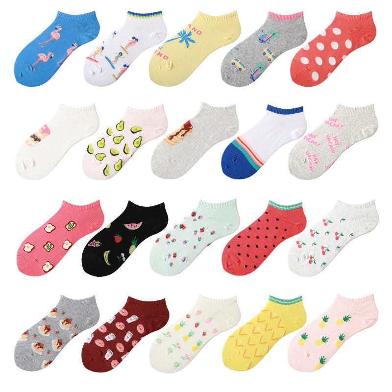 韩国版ins条纹水果男女学生ulzzang搞怪运动低腰原宿潮流棉船袜子