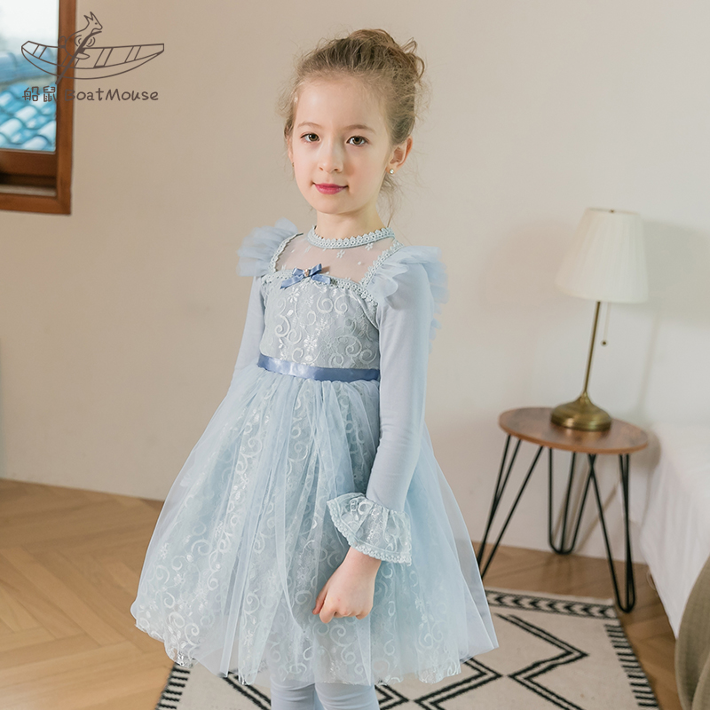 Boat mouse children's clothing girls spring clothing 2020 new children's skirt lace little girl princess skirt Baby Girl Dress