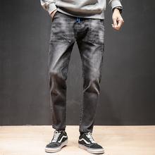 日系 加肥加大码 男士松紧牛仔裤韩版修身束脚裤弹力 K12 P55