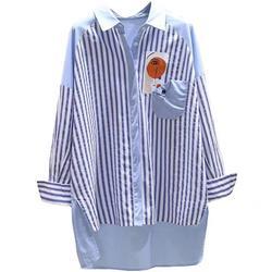 品牌折扣女装专柜撤柜尾货清仓蓝色竖条纹拼色宽松棉麻中长款衬衫
