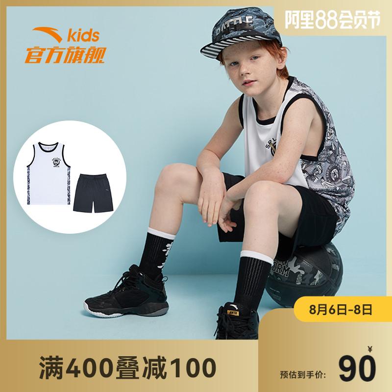 安踏儿童运动套装男大童篮球服2021夏儿童背心短裤速干运动比赛套