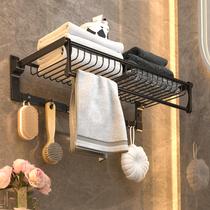 毛巾架免打孔卫生间浴巾架壁挂浴室置物架放衣服挂架太空铝收纳架