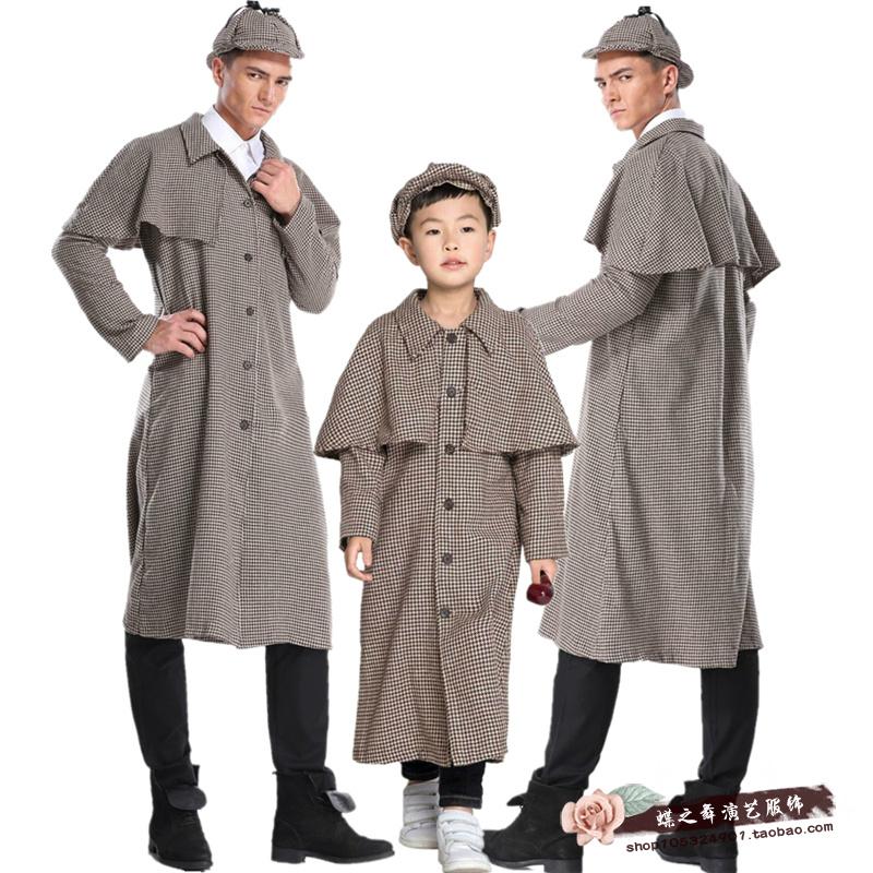 ハロウィンの服のcosplay子供の夏のロックホームズの服の探偵のスパイは服を出します