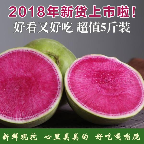 新鲜心里美萝卜5斤 绿皮红心胭脂水果萝卜蔬菜2500g