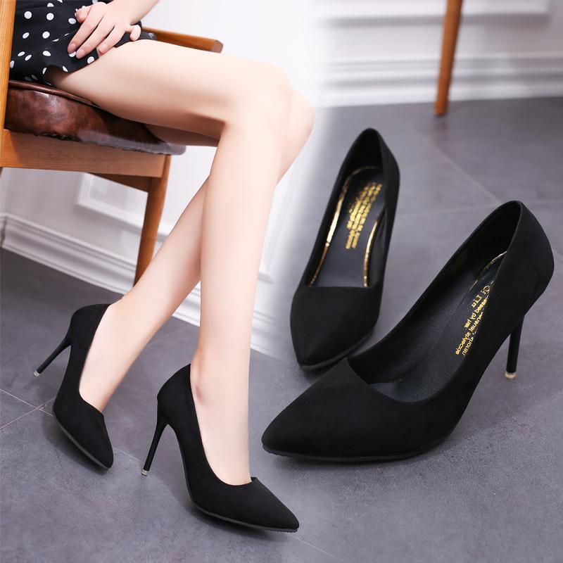 2021春季新款少女高跟鞋细跟女鞋尖头黑色百搭礼仪职业单鞋婚鞋秋